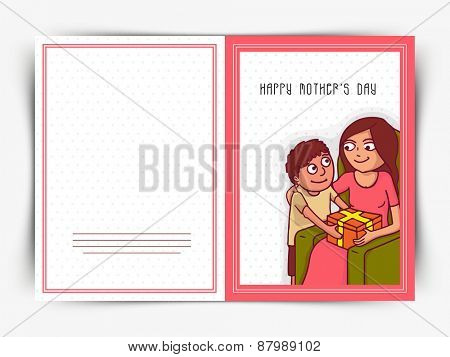 Cute little boy giving gift to his mom on occasion of Happy Mother's Day, can be used as greeting or invitation card design.