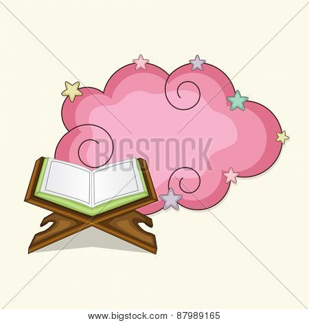 Open islamic holy book Quran Shareef with a pink blank frame for muslim community festival, Ramadan Kareem celebration.