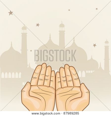 Illustration of human hand praying in front of islamic mosque for muslim community, holy month of prayer, Ramadan Kareem celebration.