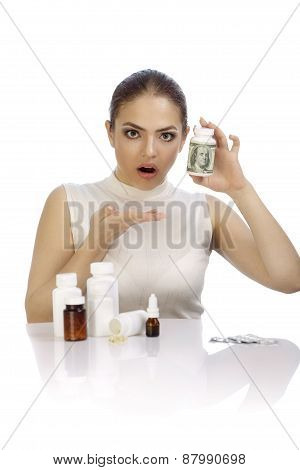 Young Beautiful Woman Amazed By Heavy Price Of Medicines
