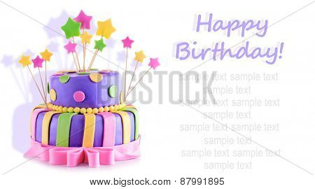 Delicious birthday cake isolated on white