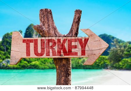 Turkey wooden sign with beach background