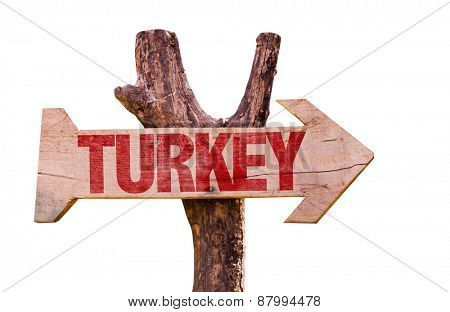 Turkey wooden sign isolated on white background