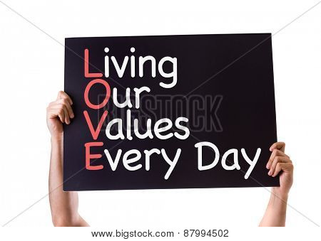 Living Our Values Every Day card isolated on white