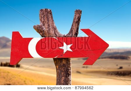 Turkey Flag wooden sign with desert background