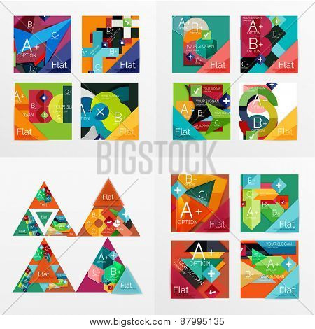 Flat design vector geometric info banners, web boxes, infographic templates. Squares and triangles