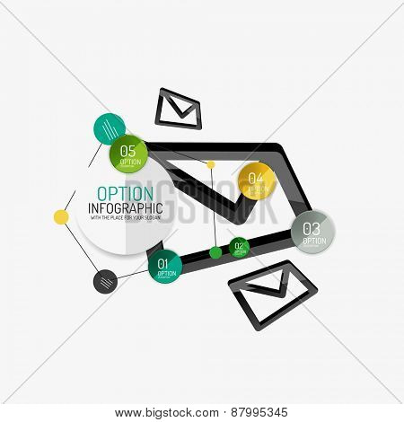 Minimal line design geometric presentation or web infographics. Black line concept icons with stickers, notes and other business design elements