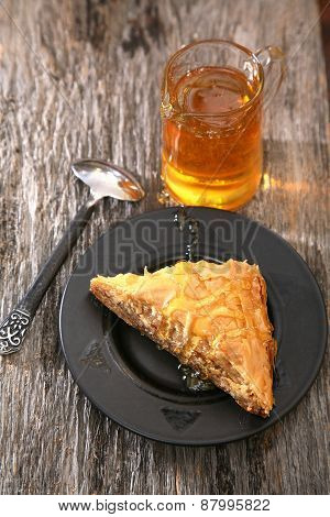 Piece of Baklava on a plate