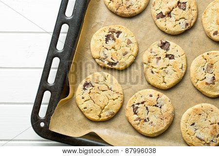 top view of chocolate cookies