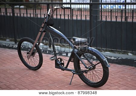 Bike on the pavement.