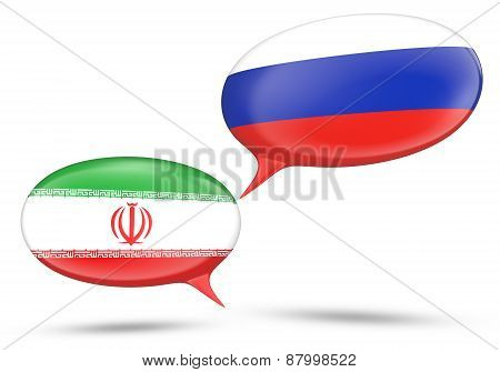 Iran - Russia relations concept with speech bubbles