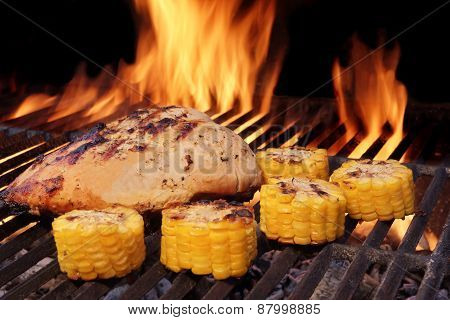 Grilled Chicken Breast And Corn Rings Close-up