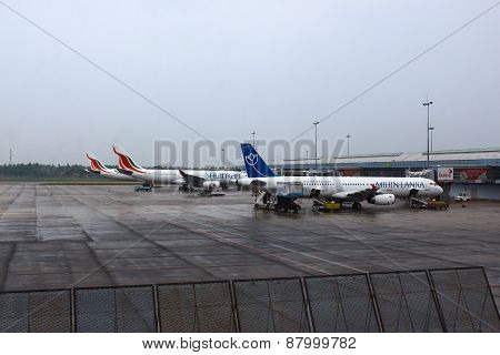 Aircraft at the airport in Colombo