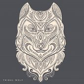 stock photo of wolf-dog  - Vector tribal style wolf tottem tattoo with ornaments - JPG