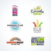 Постер, плакат: Fifth set of dj music reggae bass karaoke equalizer logo vector