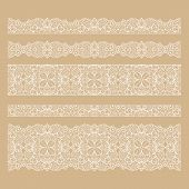 picture of lace  - Set of seamless lace borders with transparent background - JPG