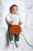 image of infant  - Cute infant baby boy playing basketball sketch - JPG