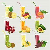 pic of juices  - Collection of exotic fruit juices - JPG