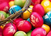 picture of thorns  - Colorful Easter eggs with crown of thorns - JPG