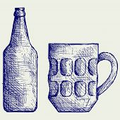 foto of drawing beer  - Mug and bottle beer - JPG