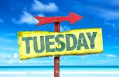 picture of tuesday  - Tuesday sign with beach background - JPG
