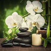 picture of stone-therapy  - spa concept with zen basalt stones  and orchid  - JPG