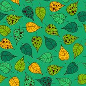 picture of leafy  - Vector leafy wallpaper tile in green tones - JPG