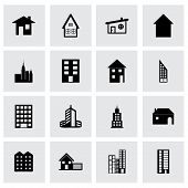 image of building exterior  - Vector building icon set on grey background - JPG