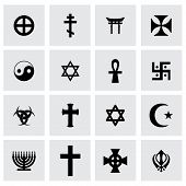 picture of noah  - Vector religious symbols icon set on grey background - JPG