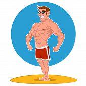 stock photo of jock  - Posing bodybuilder - JPG