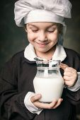 picture of milkman  - milkman boy holding a glass of milk - JPG
