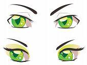 pic of manga  - Male and female eyes of green color in manga style - JPG