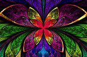 picture of fractals  - Multicolored symmetrical fractal pattern as flower or butterfly in stained - JPG