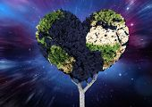 pic of outer  - Heart shaped earth tree against outer space - JPG