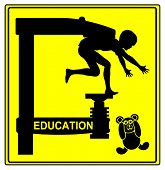 picture of restriction  - Humorous sign for the traditional education system with strict restrictions and obedience - JPG