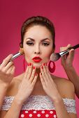 picture of makeover  - Beauty Girl with Makeup Brushes - JPG
