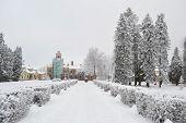 stock photo of winter palace  - The photo of winter landscape in Sigulda Latvia - JPG