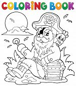 picture of buccaneer  - Coloring book with sitting pirate  - JPG