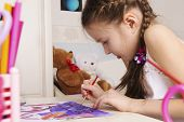 stock photo of 7-year-old  - Portrait of young girl of 6 or 7 years old - JPG