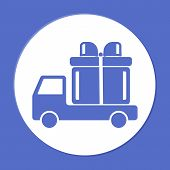 image of truck-cabin  - truck with a gift vector icon EPS - JPG