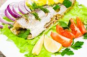 picture of hake  - fish hake baked with vegetables on a plate - JPG