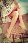 image of romantic  - barefoot woman legs - JPG