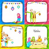 picture of ramazan mubarak card  - Colorful set of greeting card decorated with Islamic people enjoying and celebrating on occasion of holy month Ramadan Kareem - JPG