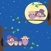 picture of animated cartoon  - Happy owls family sitting on a tree branch at night  - JPG