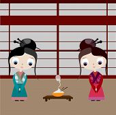 stock photo of geisha  - Two geisha I comes with a Japanese interior and a bowl of cooked rice - JPG