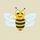 foto of bee cartoon  - Cartoon of a happy honey bee - JPG