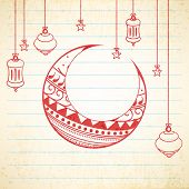stock photo of moon stars  - Floral design decorated moon with hanging Arabic lamps and stars on notebook paper background for holy month of Muslim community Ramadan Kareem celebration - JPG