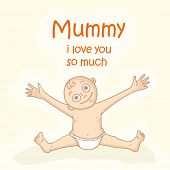 stock photo of i love you mom  - Cute little boy opening his arms and saying Mummy I Love You So Much on occasion of Happy Mother - JPG