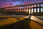 stock photo of aqueduct  - Ancient Aqueduct in Segovia Spain - JPG