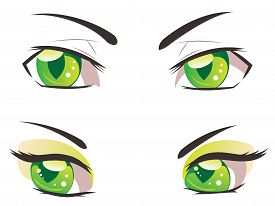 image of manga  - Male and female eyes of green color in manga style - JPG